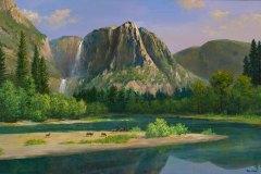 Yosemite Spring with Deer 16x24.5